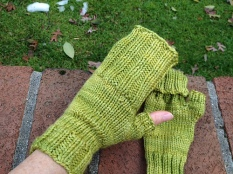 Long Flap Fingerless Gloves by Lisa Dove
