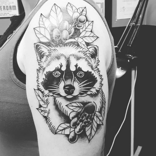 Raccoon Tattoo by Wes Pratt