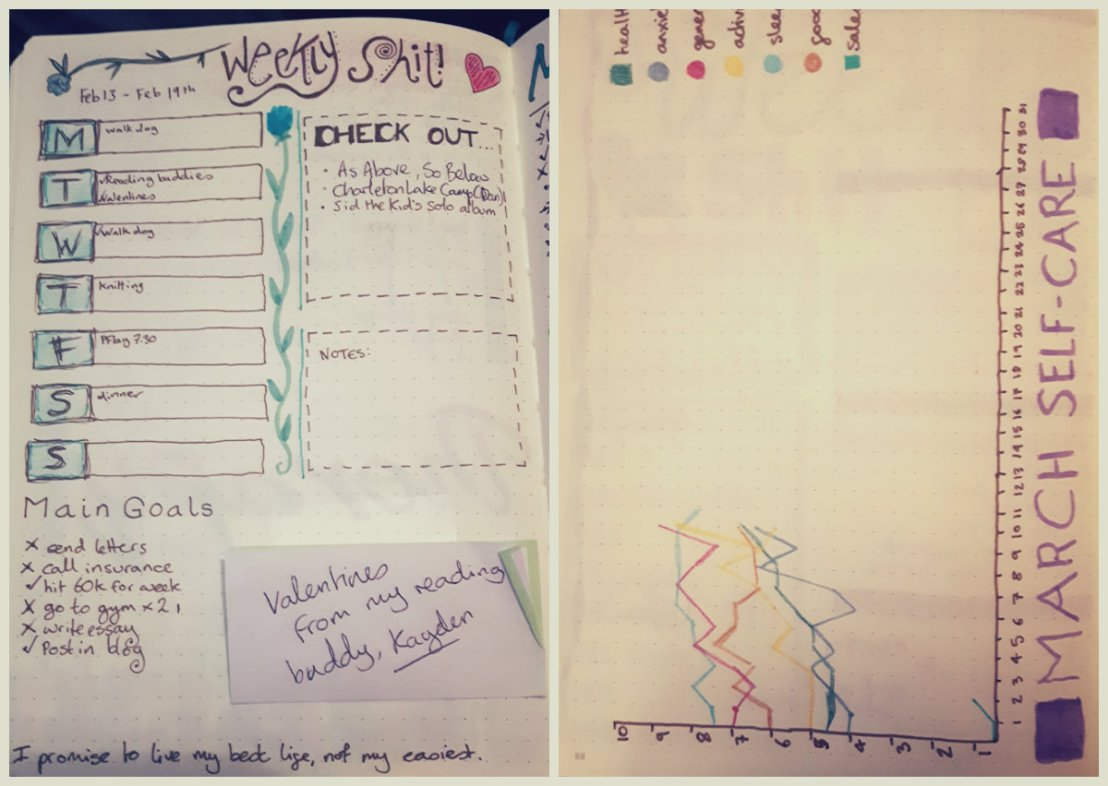 Knitter Nerd Bullet Journal: weekly/monthly trackers