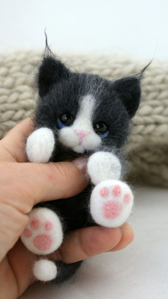 Fluffy needle-felted cat.