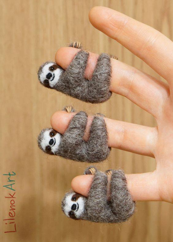 The cutest of needle-felted sloths