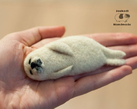 Needle felted baby seal, awww